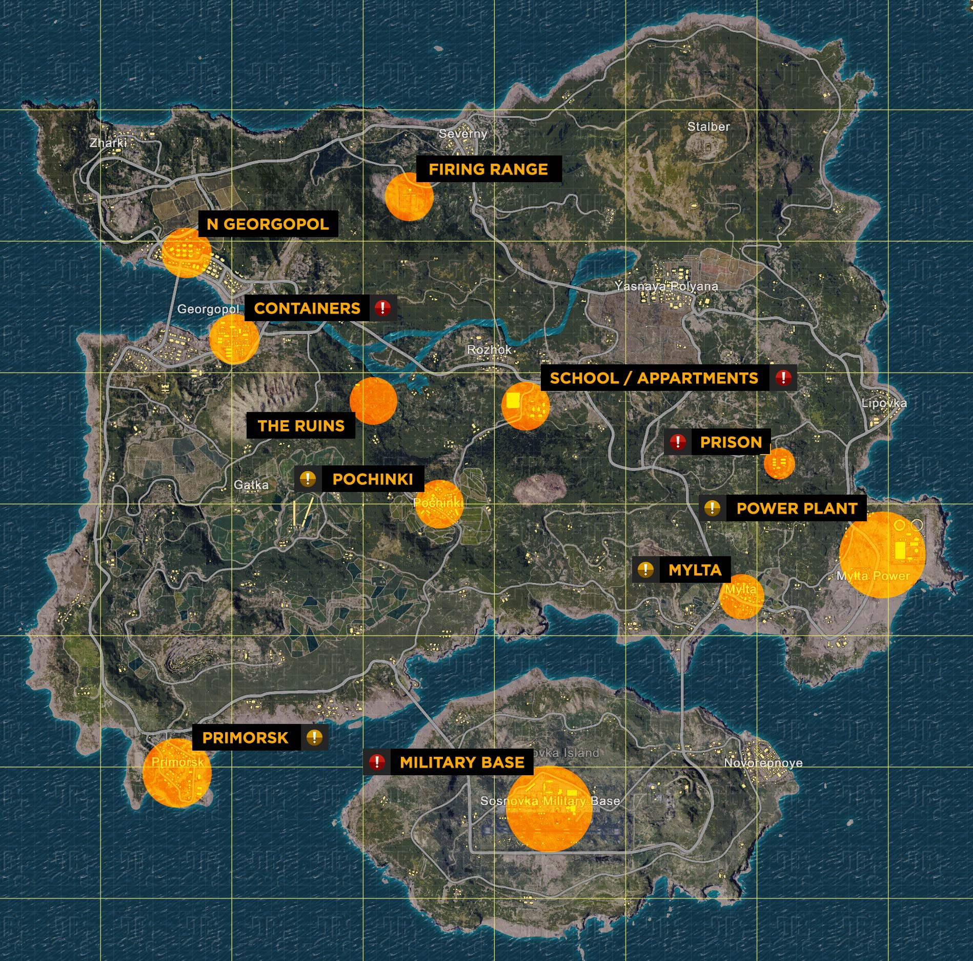Map of loot spawns in Playerunknown's Battlegrounds